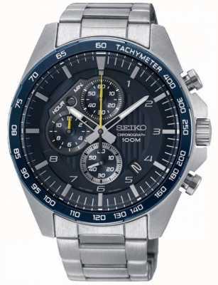 Seiko Herenhorloge in de motorsport blauw chronograaf stalen armband SSB321P1