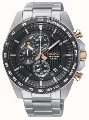 Seiko Herenhorloge zwart horloge met chronograaf stalen armband SSB323P1