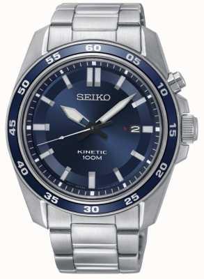 Seiko Heren kinetische roestvrij stalen horloge blauwe wijzerplaat SKA783P1