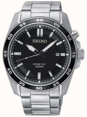 Seiko Heren kinetische roestvrijstalen horloge zwarte wijzerplaat SKA785P1