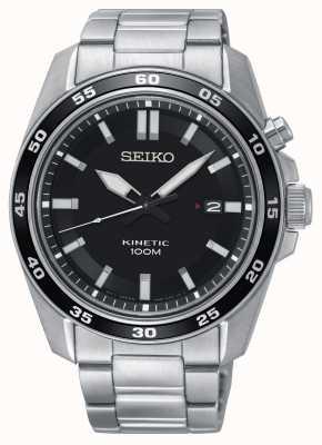 Seiko Heren kinetisch roestvrijstalen horloge met zwarte wijzerplaat SKA785P1