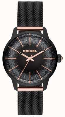 Diesel Dameshorloge armband in castilla zwart en roségoud horloge DZ5577