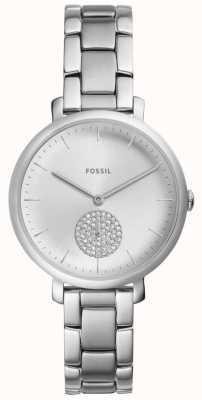 Fossil Womens jacqueline roestvrij staal zilveren kristallen horloge ES4437