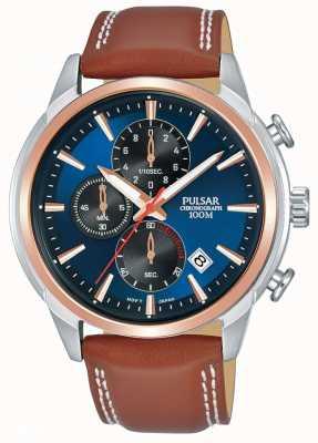 Pulsar Heren rosegoud verguld tweekleurig chronograaf horloge PM3120X1