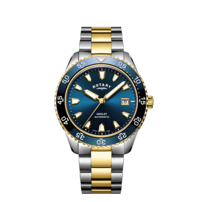 Rotary Heren henley automatisch two tone armband blauw wijzerplaathorloge GB05131/05