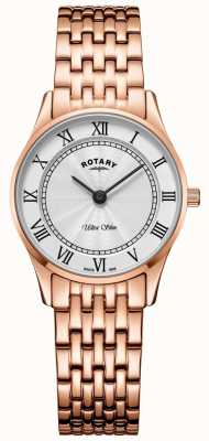 Rotary Womens ultra slank rosegouden armbandhorloge LB08304/01
