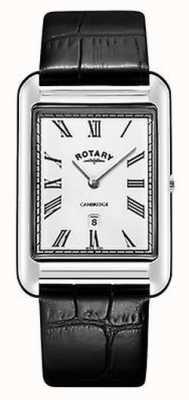 Rotary Heren cambridge datum vierkant zwart lederen band horloge GS05280/01