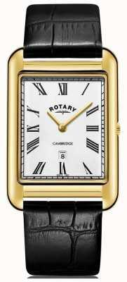 Rotary Heren cambridge datum gouden vierkant lederen zwarte lederen band GS05283/01