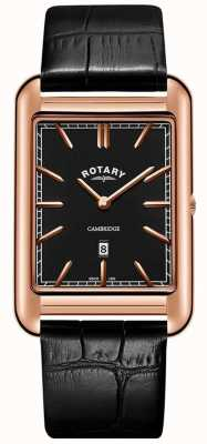 Rotary Heren cambridge roségouden vierkante lederen band in zwart leer GS05284/04