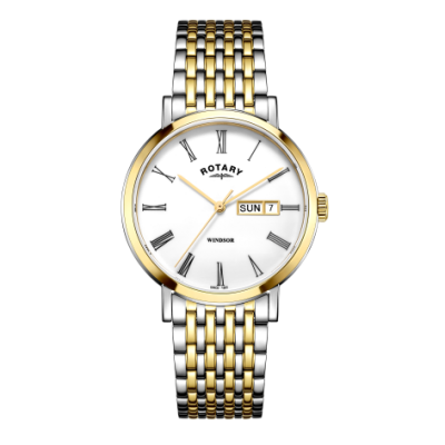 Rotary Herenhorloge of tweekleurig zilveren en gouden horloge GB05302/01