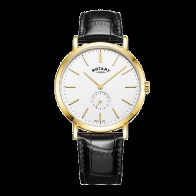 Rotary Heren windsor goudkleurige lederen horlogeband GS05313/02