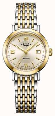 Rotary Dameshorloge met tweekleurige gouden en zilveren windsor armband LB05301/09