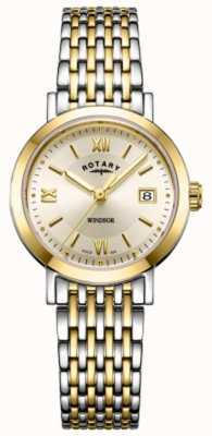 Rotary Dameshorloge van windsor two tone gouden en zilveren armband LB05301/09
