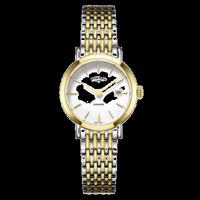 Rotary Dameshorloge van windsor two tone gouden en zilveren armband LB05302/01