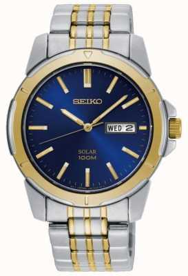 Seiko Herenhorloge op zonne-energie two tone roestvrijstalen armband blauwe wijzerplaat SNE502P1