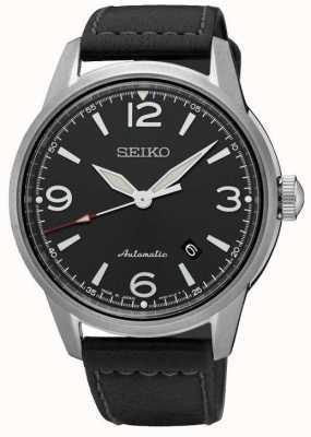 Seiko Mens presage automatische zwarte band zwarte wijzerplaat horloge SRPB07J1