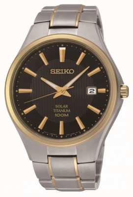 Seiko Herenhorloge met tweekleurige titanium armband uit zonne-energie SNE382P9