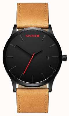 MVMT Klassieke zwarte kleur | bruine leren riem | zwarte wijzerplaat D-L213.5L.351