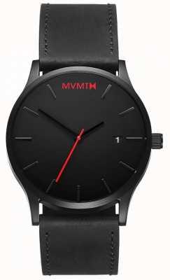 MVMT Klassiek zwart leer | zwarte riem | zwarte wijzerplaat D-L213.5L.551