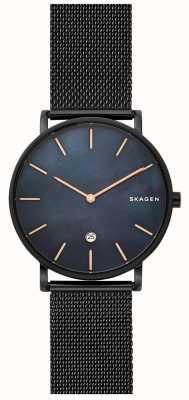 Skagen Mens hagen horloge zwart stalen mesh blauwe wijzerplaat SKW6472
