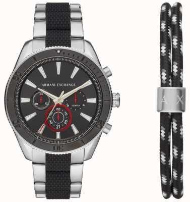 Armani Exchange Mens enzo sport chronograaf horloge ad armband cadeauset AX7106