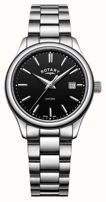 Rotary Dames oxford roestvrijstalen armband zwarte datumwijzerplaat LB05092/04