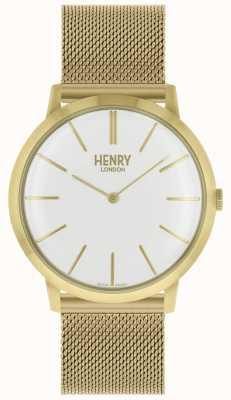 Henry London Iconische witte wijzerplaat goudkleurige mesh armband HL40-M-0250