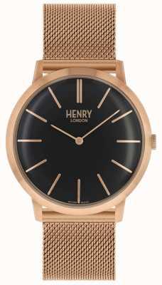 Henry London Iconische zwarte wijzerplaat rosegouden armband HL40-M-0254