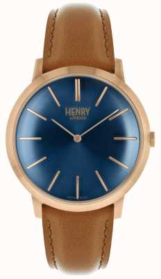 Henry London Iconische navy wijzerplaat kleurige lederen band met rose band HL40-S-0244