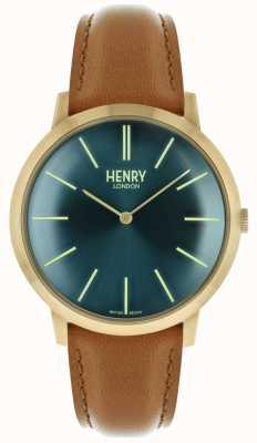 Henry London Iconische navy wijzerplaat kleurige lederen band goudkleurig etui HL40-S-0274