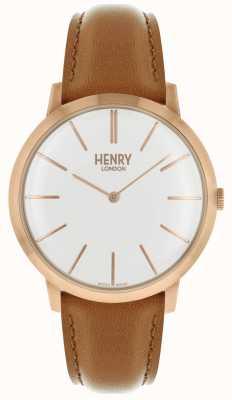 Henry London Iconische witte wijzerplaat kleurige lederen band met rose roos HL40-S-0240