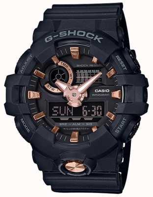 Casio G-shock analoog digitaal marineblauw rose gouden horloge GA-710B-1A4ER