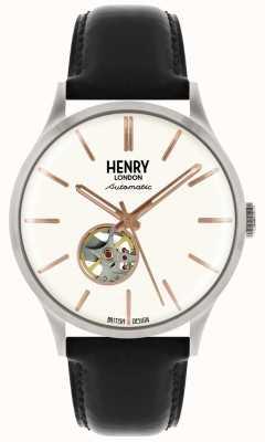 Henry London Heritage heren automatische zwarte lederen band witte wijzerplaat horloge HL42-AS-0279