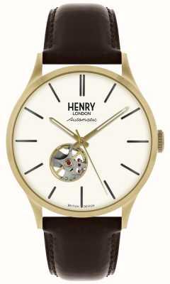 Henry London Heritage heren automatische zwarte lederen band witte wijzerplaat horloge HL42-AS-0280