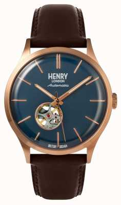 Henry London Heritage heren automatisch bruin lederen band marine wijzerplaat horloge HL42-AS-0278