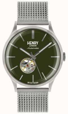 Henry London Heritage mens automatisch zilver gaas groen wijzerplaat horloge HL42-AM-0283