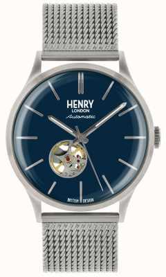 Henry London Heritage mens automatische zilver stalen mesh blauwe wijzerplaat horloge HL42-AM-0285