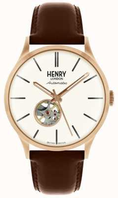 Henry London Heritage heren automatisch bruin lederen band horloge met witte wijzerplaat HL42-AS-0276