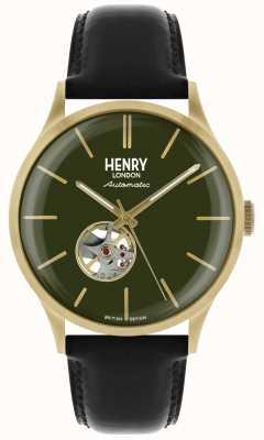 Henry London Heritage mens automatisch zwart lederen band groen wijzerplaat horloge HL42-AS-0282
