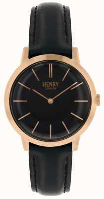Henry London Iconische dameshorloge zwarte wijzerplaat zwarte leren riem HL34-S-0218