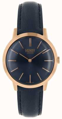 Henry London Iconische dameshorloge marine navy leren riem HL34-S-0216