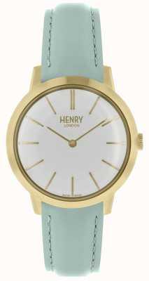 Henry London Iconische damesshirt met witte wijzerplaat en blauwe lederen band HL34-S-0224