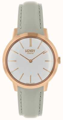 Henry London Iconisch damesshirt met witte wijzerplaat en grijze leren band HL34-S-0220