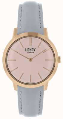 Henry London Iconisch dameshorloge roze wijzerplaat grijze lederen band HL34-S-0228