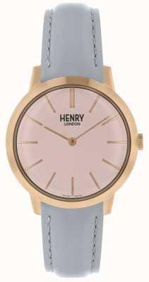 Henry London Iconisch dameshorloge roze wijzerplaat grijze lederen band HL34-S-0228