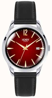 Henry London Chancery unisex zwart lederen band rode wijzerplaat horloge HL39-S-0095