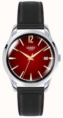 Henry London Chancery unisex zwart lederen band rode wijzerplaat horloge HL39-S-0095