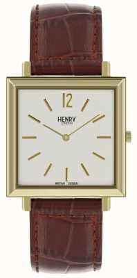 Henry London Heritage heren vierkante horloge witte wijzerplaat bruine lederen band HL34-QS-0268