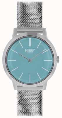 Henry London Iconische dameshorloge zilvergaas armband blauwe wijzerplaat HL34-M-0273