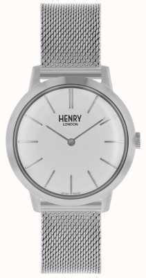 Henry London Iconische dameshorloge zilvergrijze armband witte wijzerplaat HL34-M-0231